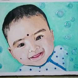 baby, 16 x 12 inch, geetha k,paintings,portrait paintings,portraiture,baby paintings,paintings for kids room,paintings for kids room,canvas,acrylic color,16x12inch,GAL01072921751