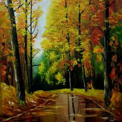 autumn beauty iii, 18 x 28 inch, chandrakesh  singh,paintings,nature paintings,realism paintings,paintings for dining room,paintings for living room,paintings for bedroom,paintings for office,paintings for bathroom,paintings for kids room,paintings for hotel,paintings for kitchen,paintings for school,paintings for hospital,canvas,oil,18x28inch,nature,landscape,colourful,trees,GAL0705621754Nature,environment,Beauty,scenery,greenery,trees,road
