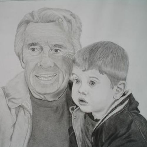 grandpa_baby, 14 x 12 inch, geetha k,drawings,portrait drawings,paintings for dining room,paintings for living room,paintings for kids room,paintings for hotel,paintings for hospital,thick paper,charcoal,14x12inch,GAL01072921755