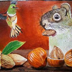 squirrel and bird, 10 x 8 inch, geetha k,paintings,animal paintings,paintings for dining room,paintings for living room,paintings for office,paintings for kids room,paintings for hotel,paintings for kitchen,canvas,acrylic color,10x8inch,GAL01072921756