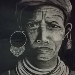 indigenous people, 13 x 17 inch, rubi biswas,fine art drawings,portrait drawings,paintings for dining room,paintings for living room,paintings for bedroom,thick paper,charcoal,pencil color,13x17inch,GAL0946421764