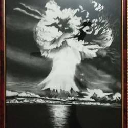 volcanic erruption, 13 x 18 inch, rubi biswas,drawings,fine art drawings,paintings for living room,paintings for office,hardboard,charcoal,pencil color,13x18inch,GAL0946421767