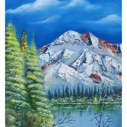 snow peek mountain, 16 x 24 inch, velmourougan c,paintings,flower paintings,landscape paintings,nature paintings,realistic paintings,paintings for dining room,paintings for living room,paintings for office,paintings for kids room,paintings for hotel,paintings for kitchen,paintings for school,paintings for hospital,canvas,acrylic color,16x24inch,GAL01161321772Nature,environment,Beauty,scenery,greenery