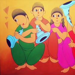 enjoy music 2, 36 x 48 inch, dnyaneshwar  bembade ,paintings,figurative paintings,paintings for dining room,paintings for office,paintings for kids room,canvas,acrylic color,36x48inch,GAL046421796