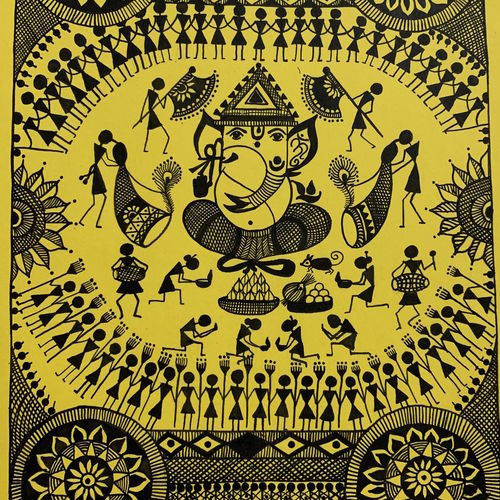ganesh chaturthi, 8 x 12 inch, ragini pandey,folk art paintings,warli paintings,paintings for living room,paintings for hotel,ivory sheet,acrylic color,8x12inch,GAL010721797