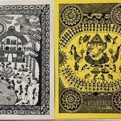 warli depicting everyday life and ganesh chaturthi, 8 x 12 inch, ragini pandey,warli paintings,paintings for dining room,paintings for living room,paintings for hotel,ivory sheet,acrylic color,8x12inch,GAL010721798