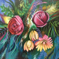 floral garden 2, 18 x 16 inch, hailey doshi,flower paintings,paintings for living room,canvas board,acrylic color,18x16inch,GAL0588321800