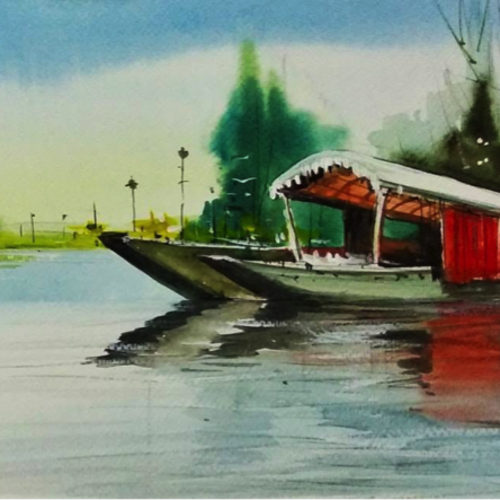 dal lake #1, 16 x 8 inch, sankar thakur,landscape paintings,nature paintings,paintings for dining room,paintings for living room,paintings for bedroom,paintings for office,paintings for school,paintings for hospital,fabriano sheet,watercolor,16x8inch,GAL0721807Nature,environment,Beauty,scenery,greenery