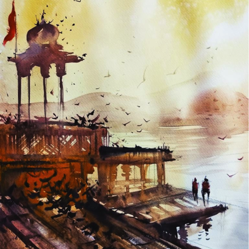 pushkar morning, 16 x 11 inch, sankar thakur,cityscape paintings,modern art paintings,paintings for dining room,paintings for living room,paintings for bedroom,paintings for office,paintings for bathroom,paintings for kids room,paintings for hotel,paintings for kitchen,fabriano sheet,watercolor,16x11inch,GAL0721812
