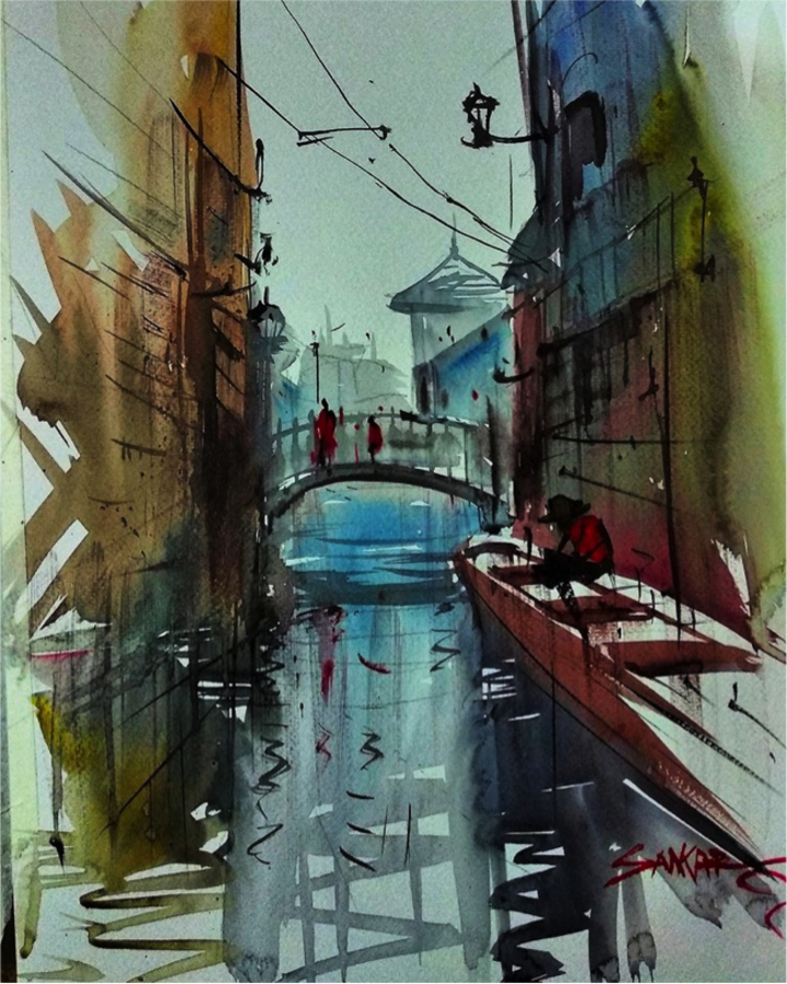 vanishing points, 16 x 11 inch, sankar thakur,cityscape paintings,modern art paintings,paintings for dining room,paintings for living room,paintings for bedroom,paintings for office,fabriano sheet,watercolor,16x11inch,GAL0721813