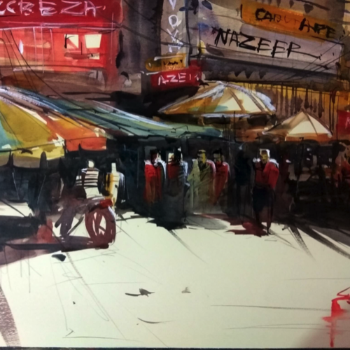 metro, 24 x 14 inch, sankar thakur,cityscape paintings,paintings for dining room,paintings for living room,paintings for bedroom,paintings for office,paintings for hotel,fabriano sheet,watercolor,24x14inch,GAL0721816