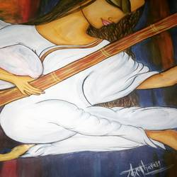 meera with her veena lost in prayer, 11 x 15 inch, kiran chavan,paintings,abstract paintings,folk art paintings,religious paintings,paintings for dining room,paintings for living room,paintings for office,paintings for hotel,thick paper,acrylic color,watercolor,graphite pencil,11x15inch,GAL0732821821