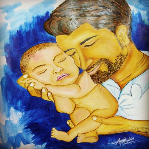 father holding his baby, 11 x 15 inch, kiran chavan,paintings,folk art paintings,expressionist paintings,realistic paintings,baby paintings,children paintings,paintings for dining room,paintings for living room,paintings for bedroom,paintings for kids room,paintings for hotel,paintings for hospital,thick paper,acrylic color,watercolor,graphite pencil,11x15inch,GAL0732821822