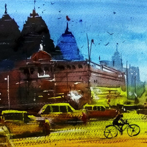 delhi night, 16 x 8 inch, sankar thakur,cityscape paintings,paintings for dining room,paintings for living room,paintings for bedroom,paintings for office,paintings for bathroom,paintings for hotel,paintings for kitchen,fabriano sheet,watercolor,16x8inch,GAL0721823