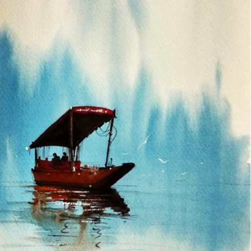 cold kashmir, 8 x 8 inch, sankar thakur,landscape paintings,paintings for dining room,paintings for living room,paintings for bedroom,paintings for office,fabriano sheet,watercolor,8x8inch,GAL0721825