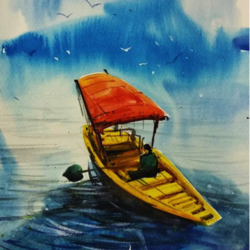 beauty of kashmir, 8 x 8 inch, sankar thakur,landscape paintings,paintings for dining room,paintings for living room,paintings for bedroom,paintings for office,fabriano sheet,watercolor,8x8inch,GAL0721826