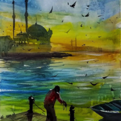 istanbul, 8 x 8 inch, sankar thakur,cityscape paintings,paintings for dining room,paintings for living room,paintings for bedroom,paintings for office,fabriano sheet,watercolor,8x8inch,GAL0721829