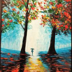 alone by nature under umbrella , 12 x 18 inch, jagdish  singh,paintings,nature paintings,canvas,oil,12x18inch,GAL01166821830Nature,environment,Beauty,scenery,greenery