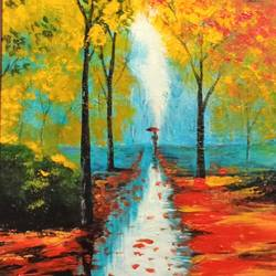 alone by nature under umbrella 2, 12 x 18 inch, jagdish  singh,paintings,landscape paintings,canvas,oil,12x18inch,GAL01166821831