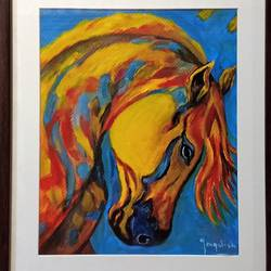 smart horse , 12 x 18 inch, jagdish  singh,paintings,wildlife paintings,modern art paintings,canvas,oil,12x18inch,GAL01166821832