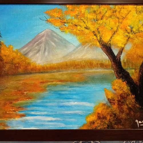 beautiful fall in the heart of forest, 15 x 18 inch, jagdish  singh,paintings,nature paintings,canvas,oil,15x18inch,GAL01166821834Nature,environment,Beauty,scenery,greenery