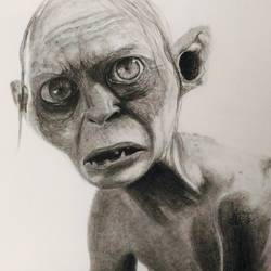 gollum , 22 x 15 inch, ashutosh  tiwari ,realism drawings,paintings for living room,ivory sheet,charcoal,22x15inch,GAL07882184