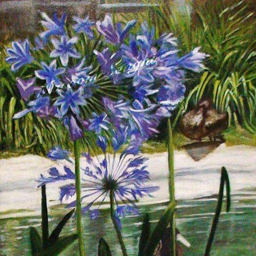 purple flowers, 24 x 36 inch, masoom sanghi,nature paintings,paintings for living room,canvas,oil,24x36inch,GAL05722185Nature,environment,Beauty,scenery,greenery