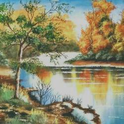 autumn river , 23 x 18 inch, md moin ,paintings,landscape paintings,paintings for living room,paintings for office,canvas,acrylic color,23x18inch,GAL01096021853