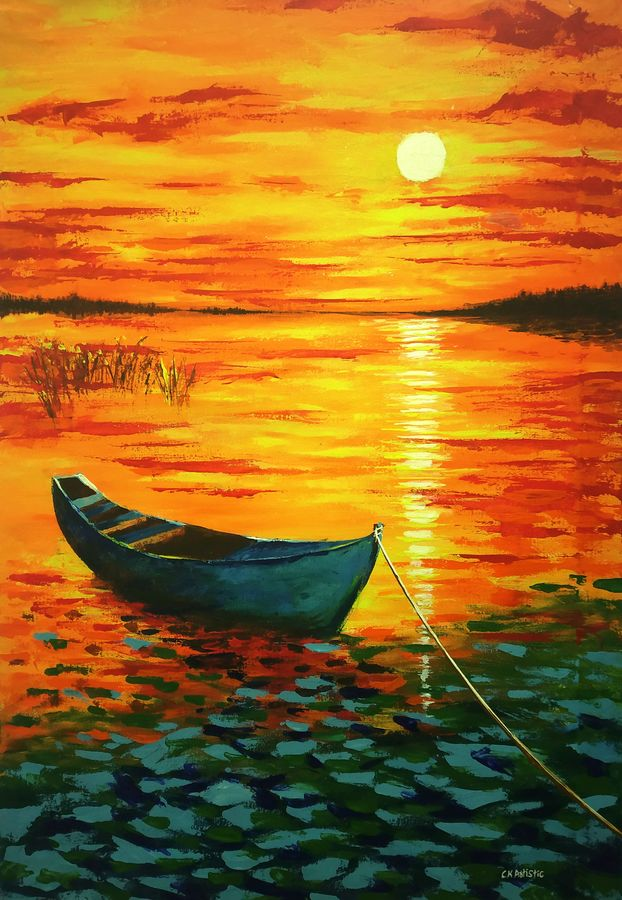 sunset beauty impressionism painting 24 x 36 inch by chandrakesh singh,24x36inch,river,boat,GAL0705621855Nature,environment,Beauty,scenery,greenery