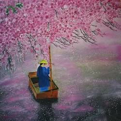 cherry blossom , 30 x 35 inch, elizabeth  lhungdim ,paintings,canvas,oil,30x35inch,GAL0836121858