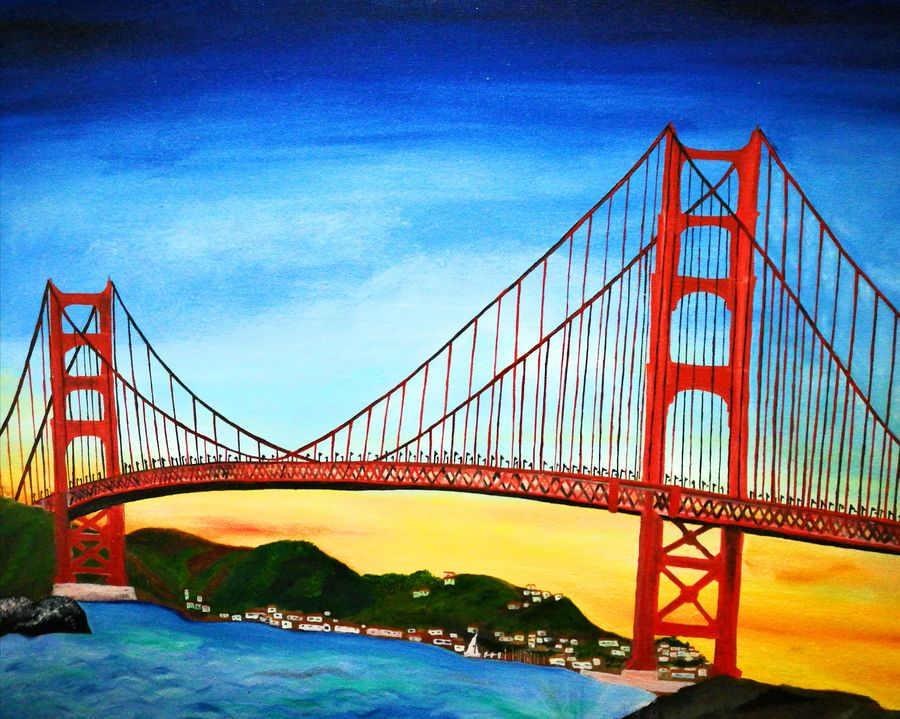 sanfransisco bridge , 30 x 25 inch, elizabeth  lhungdim ,paintings,cityscape paintings,canvas,oil,30x25inch,GAL0836121859