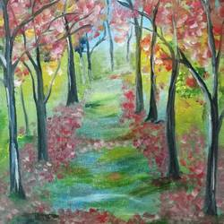 autumn , 12 x 15 inch, elizabeth  lhungdim ,paintings,nature paintings,hardboard,oil,12x15inch,GAL0836121860Nature,environment,Beauty,scenery,greenery