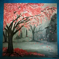 midnight blossom, 15 x 12 inch, elizabeth  lhungdim ,paintings,nature paintings,canvas board,oil,15x12inch,GAL0836121863Nature,environment,Beauty,scenery,greenery