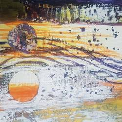 two planets, 10 x 10 inch, preeti saluja,paintings,abstract paintings,modern art paintings,contemporary paintings,paintings for living room,paintings for hotel,paintings for living room,paintings for hotel,ply board,mixed media,10x10inch,GAL01168721865