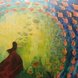 fish dancing to eternity, 48 x 36 inch, preeti saluja,paintings,figurative paintings,nature paintings,contemporary paintings,paintings for living room,paintings for hospital,canvas,acrylic color,mixed media,48x36inch,GAL01168721866Nature,environment,Beauty,scenery,greenery