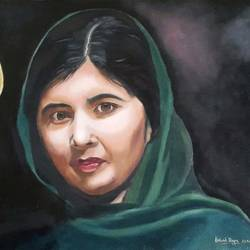 malala, 24 x 18 inch, rakesh dogra,paintings,portrait paintings,portraiture,realism paintings,contemporary paintings,realistic paintings,paintings for dining room,paintings for living room,paintings for bedroom,paintings for office,paintings for hotel,paintings for school,paintings for hospital,canvas,oil,24x18inch,GAL0896821871