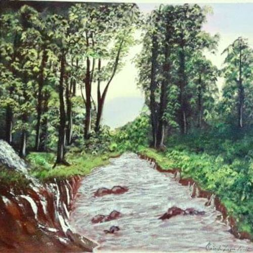 forest river art, 24 x 18 inch, rakesh dogra,paintings,landscape paintings,nature paintings,paintings for dining room,paintings for living room,paintings for bedroom,paintings for office,paintings for bathroom,paintings for kids room,paintings for hotel,paintings for kitchen,paintings for school,paintings for hospital,canvas,acrylic color,24x18inch,GAL0896821875Nature,environment,Beauty,scenery,greenery,trees,water,beautiful,leaves,flowers