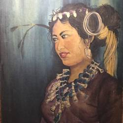 tribal girl, 23 x 33 inch, anula thakur,paintings,folk art paintings,paintings for dining room,paintings for dining room,canvas,oil,23x33inch,GAL01135021883