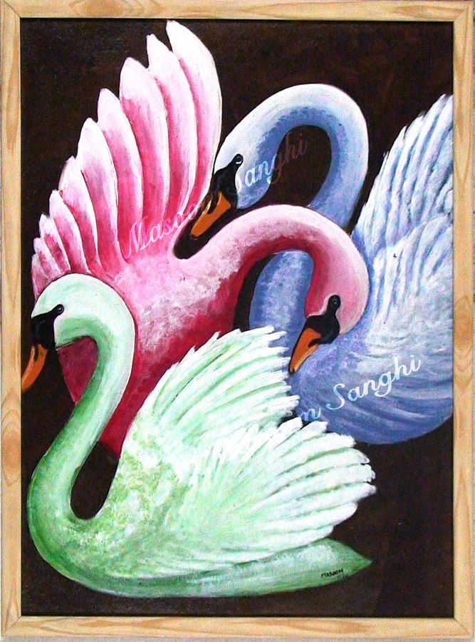 three swans, 24 x 18 inch, masoom sanghi,nature paintings,paintings for living room,love paintings,canvas board,acrylic color,24x18inch,GAL05722189Nature,environment,Beauty,scenery,greenery