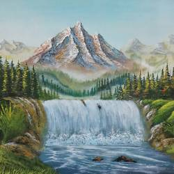 mountain river fall, 26 x 17 inch, md moin ,paintings,nature paintings,paintings for living room,paintings for office,canvas,acrylic color,26x17inch,GAL01096021890Nature,environment,Beauty,scenery,greenery