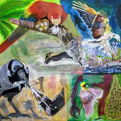 action birds different type of attacking to eat other animal, 29 x 24 inch, nadim ahmed khan,paintings for dining room,paintings for bedroom,figurative paintings,figurative drawings,canvas,acrylic color,29x24inch,GAL0921921900