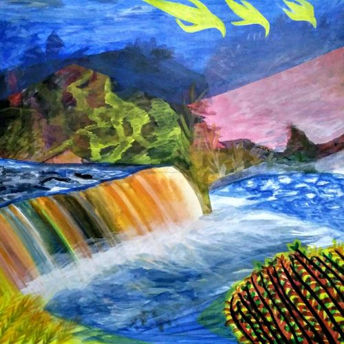 mountain waterfall landscape , 30 x 24 inch, nadim ahmed khan,paintings,landscape paintings,nature paintings,paintings for dining room,paintings for living room,paintings for bedroom,paintings for office,paintings for bathroom,paintings for hotel,paintings for kitchen,paintings for school,paintings for hospital,canvas,acrylic color,30x24inch,GAL0921921901Nature,environment,Beauty,scenery,greenery