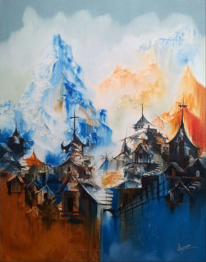 dream location -1, 30 x 36 inch, samir deshmukh,cityscape paintings,paintings for living room,paintings for bedroom,paintings for office,canvas,oil,30x36inch,GAL02522191