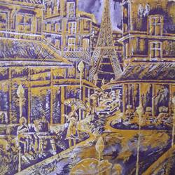 love in paris, 15 x 22 inch, subrata chakraborty,paintings,cityscape paintings,paintings for dining room,paintings for living room,paintings for bedroom,paintings for office,paintings for hotel,paintings for school,paintings for hospital,handmade paper,acrylic color,15x22inch,GAL01168521913