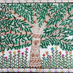 kalpavriksha - wishes bloom under it, 17 x 12 inch, akanksha sinha,paintings,folk art paintings,nature paintings,madhubani paintings,paper,pen color,watercolor,17x12inch,GAL01104121923Nature,environment,Beauty,scenery,greenery