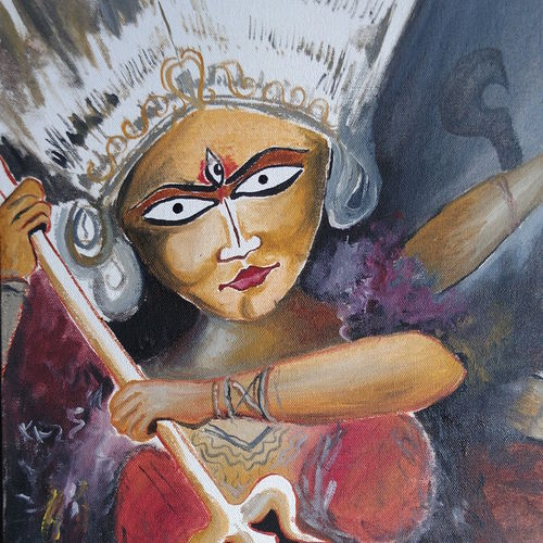 the sacred power, 14 x 12 inch, anannya bhattacharya,religious paintings,paintings for dining room,paintings for living room,paintings for hotel,canvas,oil,14x12inch,GAL01175021935