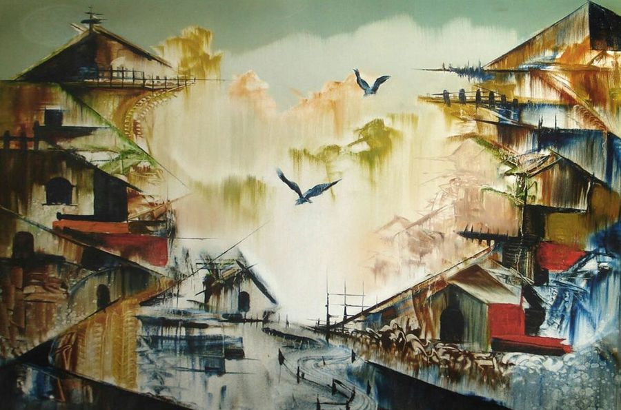 dream location -2, 36 x 30 inch, samir deshmukh,cityscape paintings,paintings for living room,paintings for office,canvas,oil,36x30inch,GAL02522194