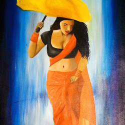 in the rain, 24 x 30 inch, vijay pratap,modern art paintings,nature paintings,paintings for living room,paintings for bedroom,paintings for hotel,paintings for living room,paintings for bedroom,paintings for hotel,canvas,acrylic color,24x30inch,GAL0443621943Nature,environment,Beauty,scenery,greenery