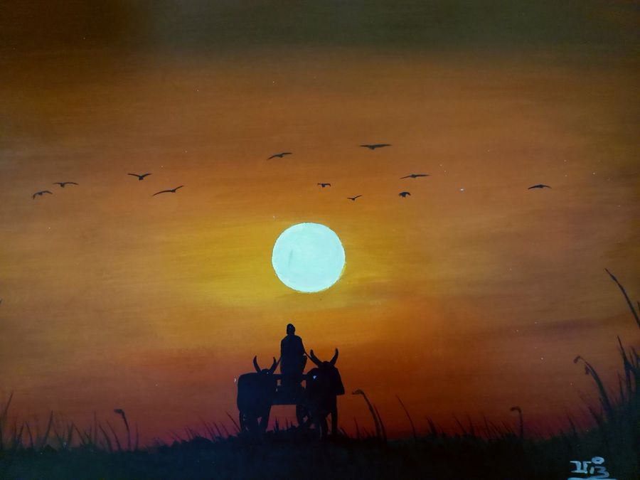 coming home , 16 x 11 inch, vijay pratap,paintings,landscape paintings,modern art paintings,nature paintings,paintings for living room,paintings for bedroom,paintings for office,paintings for hotel,paintings for school,paintings for hospital,thick paper,acrylic color,16x11inch,GAL0443621948Nature,environment,Beauty,scenery,greenery