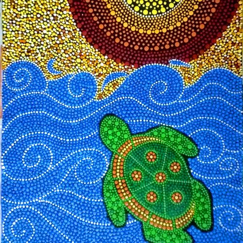 sea turtle with dot mandala, 15 x 22 inch, geeta kwatra,paintings,nature paintings,animal paintings,paintings for living room,canvas,acrylic color,15x22inch,GAL0899121952Nature,environment,Beauty,scenery,greenery